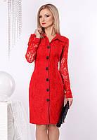 Женское гипюровое платье красного цвета с длинным рукавом. Модель 952 SL.
