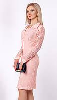 Женское гипюровое платье пудрового цвета. Модель 952 SL.