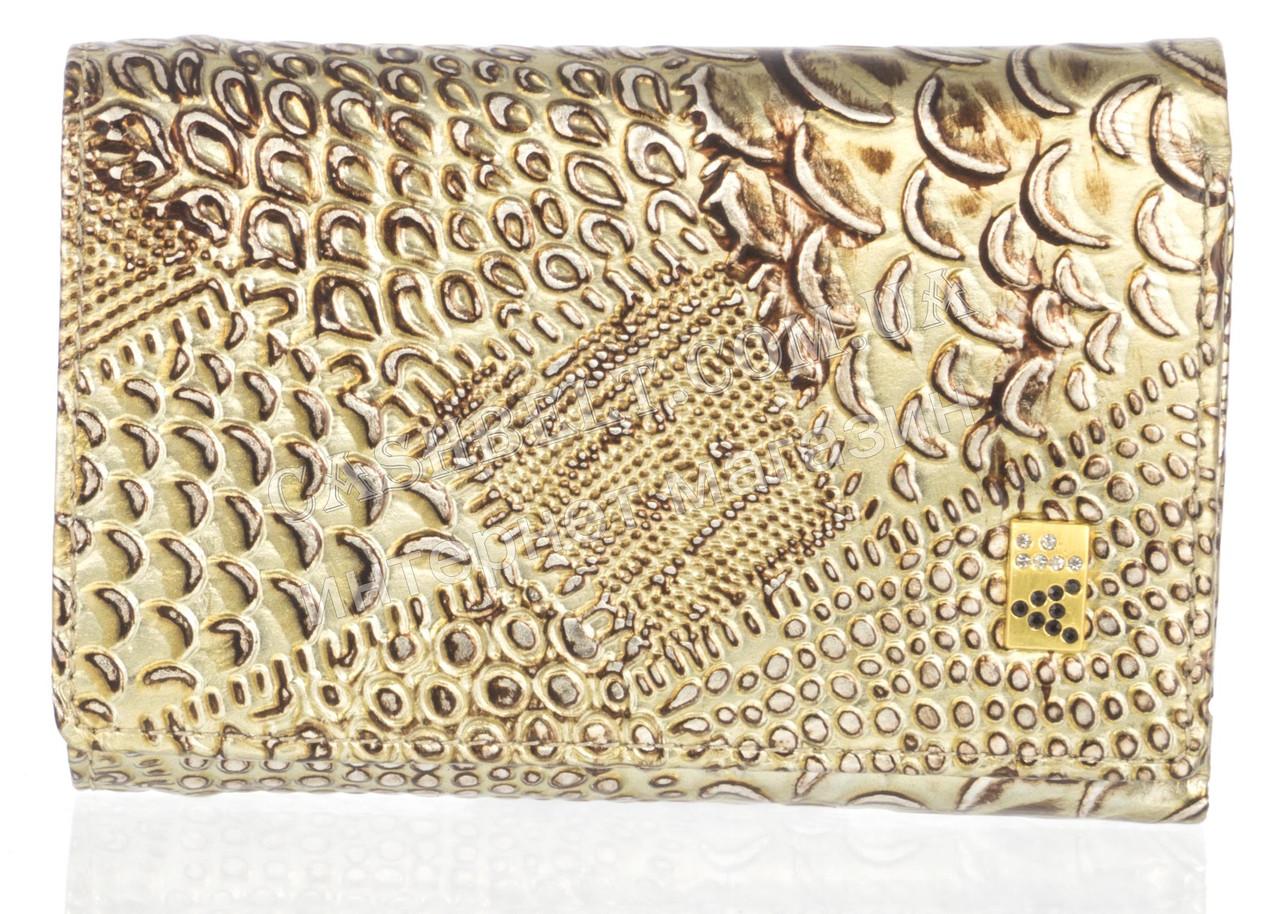 Компактный лаковый стильный женский кошелек с кожи высокого качественный ALBERTO FELINI art.E1801-3861Z золото