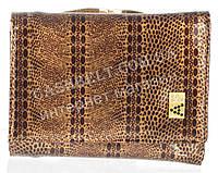 Маленький лаковый стильный женский кошелек с кожи высокого качественный ALBERTO FELINI art. E1799-4425 кофе