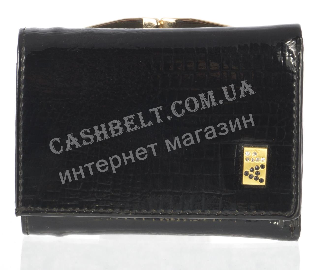 Маленький лаковый стильный женский кошелек с кожи высокого качественный ALBERTO FELINI art. E1799-3981Z черный