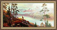 Картина Горный пейзаж 330х700 мм № 314 в багетной рамке