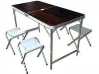 """Туристический набор """"Folding"""" Стол складной и четыре стульчика с тканевыми сиденьями из ткани 600D oxford"""