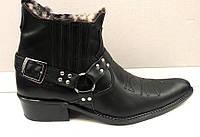 Ботинки-казаки мужские зимние кожа, натуральный мех черные/коричневые B0035