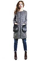 Пальто женское серое шерстяное с меховыми карманами
