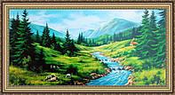 Картина Горная река 330х700 мм № 333 в багетной рамке