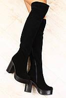 Ботфорты замшевые на толстом устойчивом каблуке евро зима черного цвета