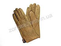 Женские Эко замш перчатки зимние бежевые