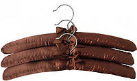 Вешалки (плечики) мягкие сатиновые коричневые для деликатных вещей, 38 см, в упаковке 3 шт