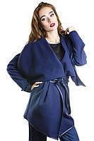 Пальто женское короткое синее из кашемира с поясом