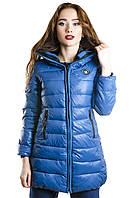Женская куртка синяя на застежке молния с капюшоном
