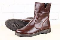 Ботинки насыщенно коричневые кожаные , демисезонные, на байке без каблука