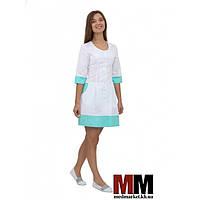 Медицинский халат женский Венеция (белый/мятный) №61