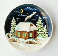 """""""Рождественский дом"""" декоративная тарелка подарок на Рождество, Новый год"""
