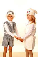 Новогодний костюм для мальчиков Зайчик меховой белого цвета