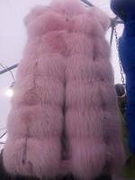 Жилет из лисы арктической  нежно розового цвета