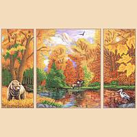 Схема для вышивания бисером Осень в лесу, полиптих из 3 частей РКП-1014