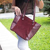Бордовая замшевая сумка с кожаными вставками