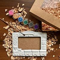 Новогодний подарок для творчества, гипсовая рамка ,праздничная упаковка