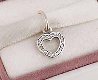 Шарм подвеска сердце, серебро