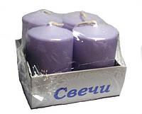 Свечи столбы интерьерные  сиреневые 40 х 60 мм ( 4 шт.)