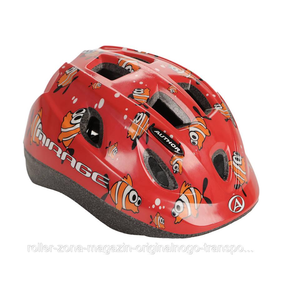 Шлем Mirage, красный с рыбками, размер 48-54 cm