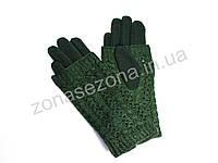 Зимние женские перчатки зелёные с довязом