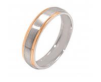Обручальное кольцо из серебра с накладками золота Дорога счастья