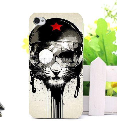 Эксклюзивный силиконовый чехол панель накладка для Iphone 6 / 6s с картинкой Кот в каске