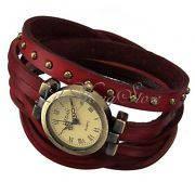 Женские Часы ретро с красным кожанным ремешком