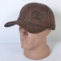 Мужская модная Кожанная теплая кепка на флисе с ушками - 29-513 (кофе)