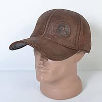 Мужская модная Кожанная теплая кепка на флисе с ушками - 29-514 (кофе)