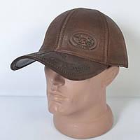 Мужская модная Кожанная теплая кепка на флисе с ушками - 29-515 (кофе)