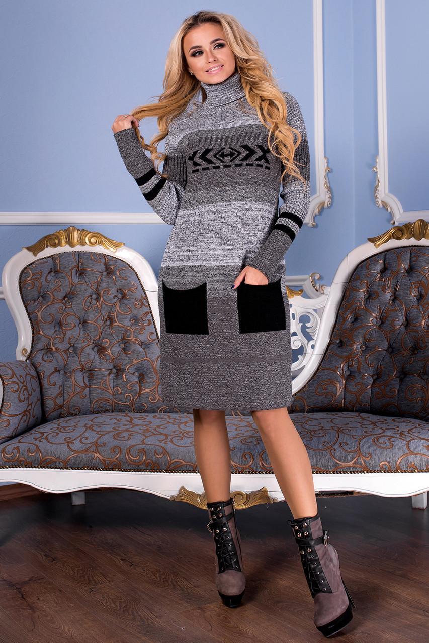 Вязаное платье Ириша 42-50 черный