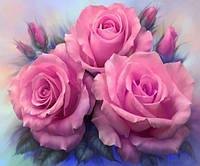 Алмазная вышивка Три розовые розы 40 х 30 см (арт. FS310) , фото 1