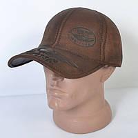 Мужская модная Кожанная теплая кепка на флисе с ушками - 29-517 (кофе)