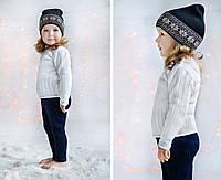 """Комфортная детская шапка-бини """"Snowflakes"""" 44-46-48, Синяя \ кремовый орнамент"""