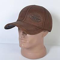 Мужская модная Кожанная теплая кепка на флисе с ушками - 29-518 (кофе)