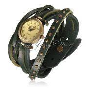 Женские Часы ретро с зеленым кожанным ремешком