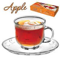 Сервиз чайный из стекла «Аpple», 170 мл, MS-0702