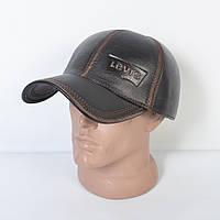 Мужская модная Кожанная теплая кепка на флисе с ушками - 29-520