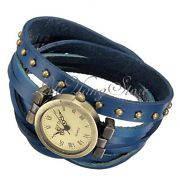 Женские Часы ретро с синим кожанным ремешком