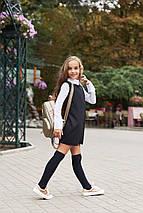 """Детское трикотажное школьное платье """"Paulina"""" с воротничком и шифоновыми рукавами (2 цвета), фото 3"""
