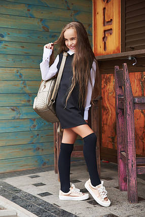 """Детское трикотажное школьное платье """"Paulina"""" с воротничком и шифоновыми рукавами (2 цвета), фото 2"""