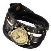 Женские Часы ретро с черным кожанным ремешком