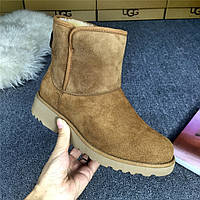 Сапожки женские UGG Abree Mini (угг абри мини) коричневые, ботинки женские угги абри мини замшевые