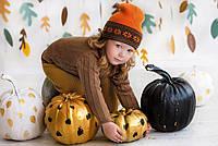 """Комфортная детская шапка-бини """"Snowflakes"""" 44-46-48, Оранжевая \ оранжевый орнамент"""