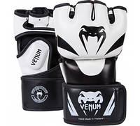 Оригинальные Перчатки Venum Attack MMA Gloves  Черный с белым, S