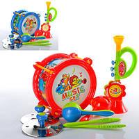 Музыкальные инструменты 2019 (48шт) барабан20см, дудка, маракасы, 2 цвета, в кульке,25-31-9см