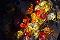 "Гирлянда из шариков ротанга ""Хэллоуин"".  Диаметр шарика - 5 см., фото 1"